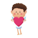 Cute little cupid valentine day pink heart Royalty Free Stock Photos