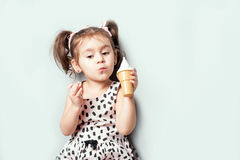 Cute little cute girl play the toy ice cream. Portrait of cute little cute girl play the toy ice cream Stock Images