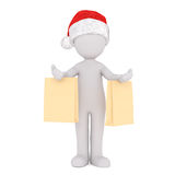 Cute little 3d character going Christmas shopping Royalty Free Stock Images