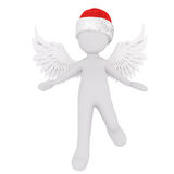 Cute little 3d Christmas angel. Wearing red Santa hat stepping forwards with open arms and raised wings, rendered illustration on white Stock Photography