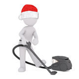 Cute little 3d figure doing the vacuuming Royalty Free Stock Images