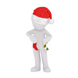Cute little 3d man in a Santa hat smoking a pipe Royalty Free Stock Photo