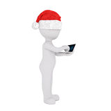 Cute little 3d man in a Santa hat smoking a pipe Royalty Free Stock Image