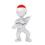 Cute little 3d man in a Santa hat smoking a pipe Stock Photography