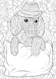 Adult coloring page a cute dachshund wearing a hat on the floral background for relaxing.Zen art style illustration. Stock Photography
