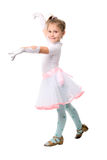 Cute Little Dancing Girl Over White Royalty Free Stock Photos