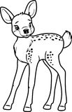 Cute little deer. Contour drawing. Illustration Royalty Free Stock Photos