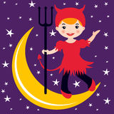 Cute little devil dancing on the moon Royalty Free Stock Photography