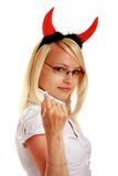 Cute little devil with horns Stock Photo
