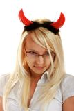 Cute little devil with horns Royalty Free Stock Photography