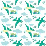 Cute Little Dino Pterodactyl Flying Seamless Pattern Isolated on White Vector Illustration royalty free stock image