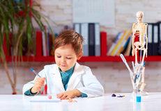 Cute little doctor writing notes in lab Royalty Free Stock Photos