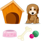 Cute little dog with doghouse ,bone,bowl and yarns Stock Photos