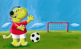 Cute little dragon dinosaur football commentator Stock Image