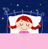 Cute little dreaming girl in bed with sky  Royalty Free Stock Photo
