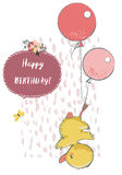 Cute duck with balloons. Cute little duck with balloons. vector illustration stock illustration