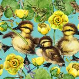 Cute little ducklings seamless pattern. Stock Images