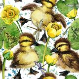 Cute little ducklings seamless pattern. Stock Photos