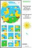 Cute little ducklings visual logic puzzle. What of the 2 - 10 are not the fragments of the picture 1? Plus same task text in Russian. Answer included Stock Images