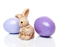 Cute little Easter bunny with two Easter eggs Royalty Free Stock Photography