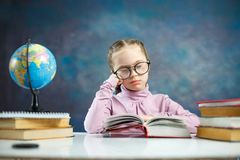 Cute Little Elenentary Student Girl Read Book stock photo
