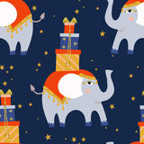 Cute little elephant, blue and gold, flat style. Stock Photography