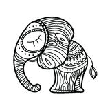 Cute little elephant. Hand-drawn illustration. Indian theme with ornaments. Stock Photo