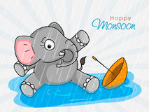 Cute little elephant for Happy Monsoon. Stock Photography