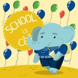 Cute little elephant in school uniform drinking soda on. The background with colorful balloons. School is cool vector illustration, colorful design element for royalty free illustration