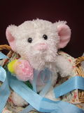 Cute little elephant stuffed toy. Adorable white elephant stuffed toy in basket Royalty Free Stock Image