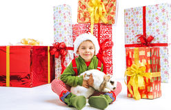Cute little elf holding a rabbit Royalty Free Stock Photo