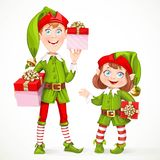 Cute little elfes Santa's assistant witha gifts Royalty Free Stock Photo