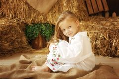 Cute little european girl. On the wooden background Stock Photo