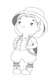 Cute little explorer. Hand drawn vector illustration of a cute plump little girl in a safari helmet, shirt, shorts, socks and hiking boots, with a backpack Stock Image
