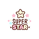Cute little face and super star lettering illustration. illustration of isolated with phrase on white. Vector style royalty free illustration