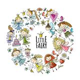 Cute little fairies collection, sketch for your design stock images