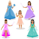Cute Little Fairies and Princesses. Little cute fairies and princesses in colored dresses isolated on white background Royalty Free Stock Photos