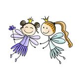 Cute little fairies, sketch for your design Stock Images