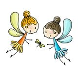 Cute little fairies, sketch for your design Royalty Free Stock Photo