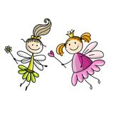 Cute little fairies, sketch for your design Stock Photography