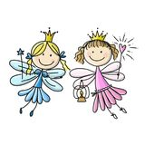 Cute little fairies, sketch for your design Stock Photo