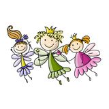 Cute little fairies, sketch for your design Royalty Free Stock Photos