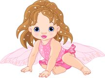 Cute little Fairy. Illustration of sitting cute Baby fairy Stock Image