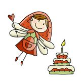 Cute little fairy with cake, sketch for your design Stock Images