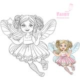Cute little fairy girl with a Magic wand color and outlined Stock Photo