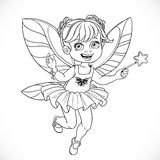 Cute little fairy girl with a Magic wand outlined Royalty Free Stock Image