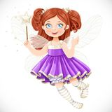 Cute little fairy girl in violet dress with a Magic wand Stock Image