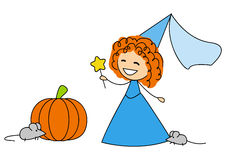 Cute little fairy with pumpkin Stock Images