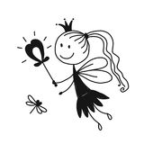 Cute little fairy, sketch for your design Stock Images