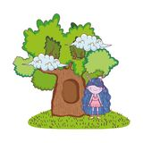 Cute little fairy with tree character royalty free illustration